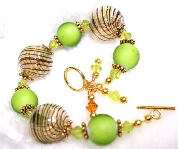 50% OFF Brown and Green Murano Blown Glass Bracelet, Brown Venetian Blown Glass Bead Bracelet
