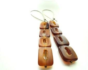 Brown Horn Rectangle Bead Dangle Earrings