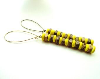 Wood Beaded Yellow Dangle Earrings