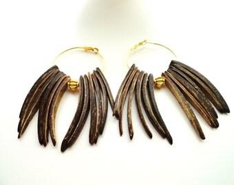Coconut Stick Wood Beaded Small Hoop Earrings