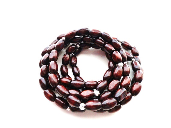 Six Oval Wood and Sterling Silver Beaded Stacks Bracelets