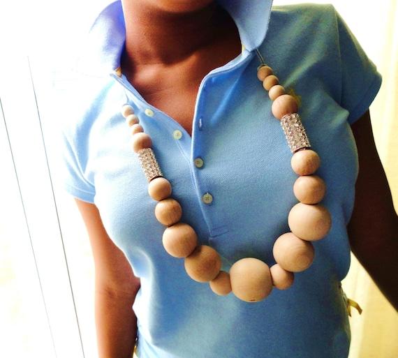 Natural Wood Rhinestone Stacks Necklace