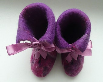 SALE Felted pink slippers-shoes for little girl baby