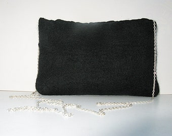 SALE Felted purse bag black with black silk