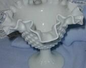 Vintage Fenton Milkglass Hobnail Ruffled Candy Dish