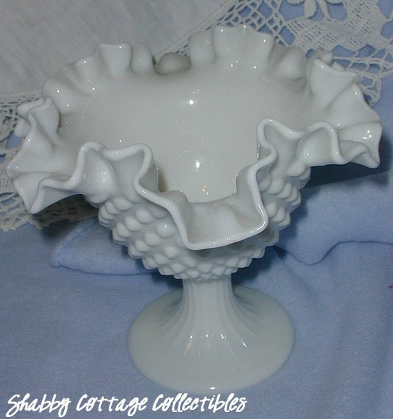 Vintage Fenton Milkglass Hobnail Ruffled Candy Dish