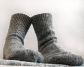 Comfortable and unusual warm wool socks. Grey wool socks.