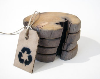 Driftwood coasters. Icelandic driftwood. Set of 4. Wooden coasters. Drink Coasters.