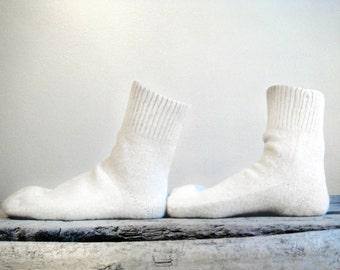 Comfortable and unusual warm wool socks. Mixed wool 50 percent sheep wool and 50% goats wool. White wool socks.