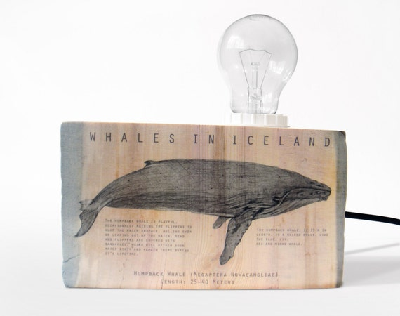Table lamp. Humpback whale. Wood table lamp. Medium size. Driftwood lamp. Modern lighting. Wooden lamp. Reclaimed wood.