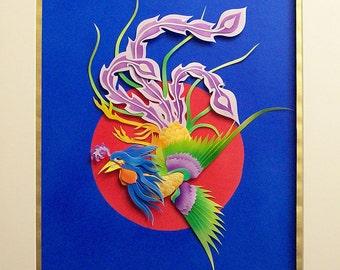 Caribbean Phoenix Paper Sculpture by Elizabeth Treat