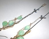 Extra Long Mixed Metal Chain Treasure Earrings with Chrysoprase and Pearls
