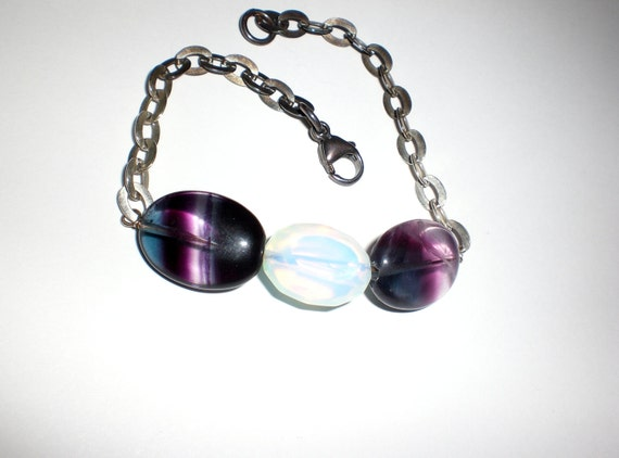 Fluorite and Opalite Shaded Oxidized Sterling Silver Bracelet