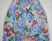 80s Floral Chintz High Waisted Denim Skirt XS