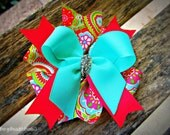 Blue and Pink Paisley Stacked Hair Bow