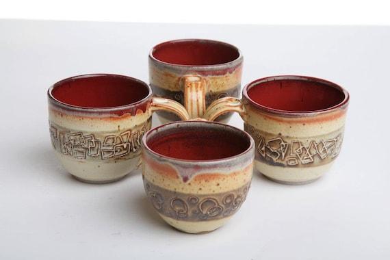 Geometric Carved Red Coffee Mugs