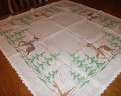 Bridge size Table Cloth with Mountains, Trees, and Deer theme done in Embroidery Cross Stitch