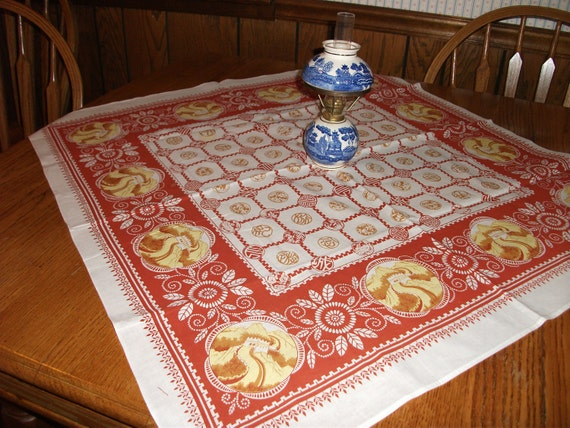 Souvenir, bridge table cloth apparently for the Great Wall of China