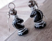 Chess Earrings Black Knight Checkmate Parlor Games