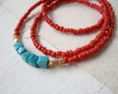 Red Turquoise Necklace - Native American Inspired Bohemian Long