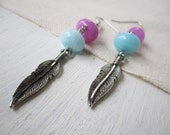 SALE Feather Earrings Native American Inspired Charms