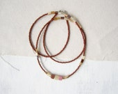 Delicate Beaded Necklace Czech Glass Seed Beads Brown