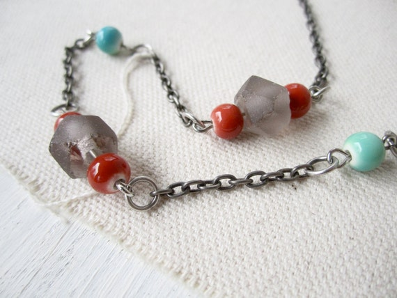 Recycled Glass Necklace - Amethyst Glass Indonesian Beads Orange and Turquoise Ceramic