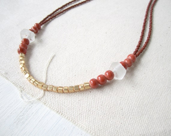 Seed Bead Necklace Indonesian Recycled Glass Sienna Gold Czech Glass