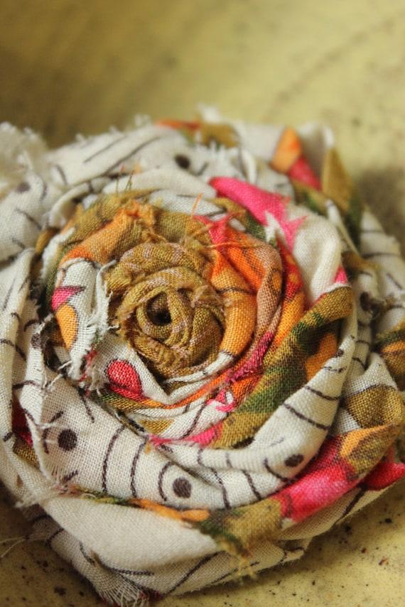Shabby Love - Vintage Fabric Flower Clip 3'' -Custom