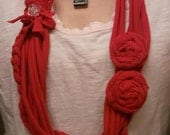 Gorgeous Red Scarf Necklace with Fabric Roses and Shiny button