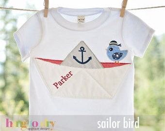 Paper Sail boat with birdie  Custom applique t-shirt or onesie