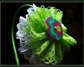 Colorful Lace Flower Headband (Lime Green, Pink, Blue, and White)