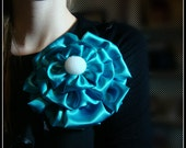 As Blue as the Sea - Brooch Pin (Features a Gorgeous Pearl White Button)