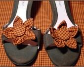 Orange & Brown Houndstooth Shoe Clips