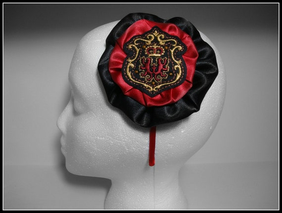 Bella Academy Headband (Red, Black, Gold, Preppy, Ivy League, Crest)