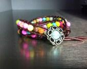 Multi color triple wrap bracelet