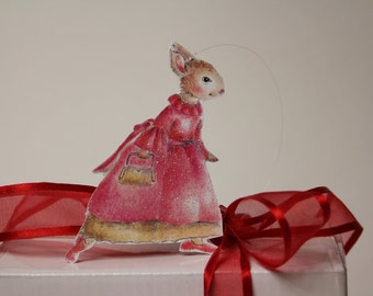 Pink Bunny in pink dress, Plumb Sweet's popular Pink Lady Bunny, gift tag, ornament