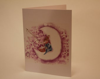 Baby bunny fishing for stars in a lavender sky Greeting card Baby