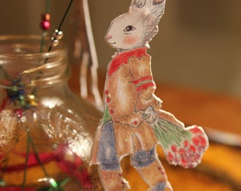Magic Fairy Bunny wand-Elegant Courting Bunny party favor Red Tulips
