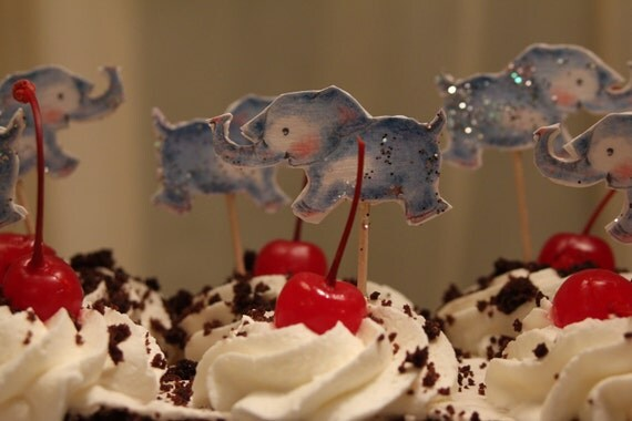 Baby Blue Elephant cake topper, party and baby shower, elephant decoration