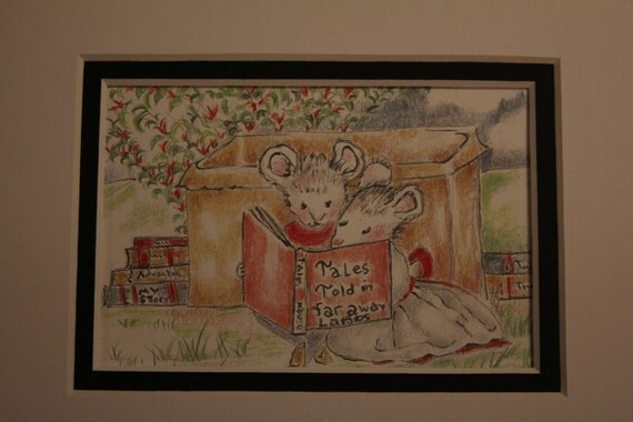 Two Lttle Mice Reading under the Honeysuckle signed 5 by 7 illustration print