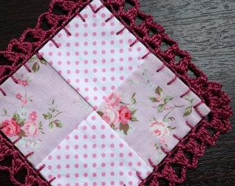 Mini Patchwork with Crocheted Lace - Maroon