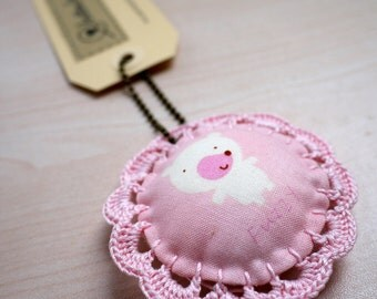 Fabric Keychain with Crochet Lace - Bear