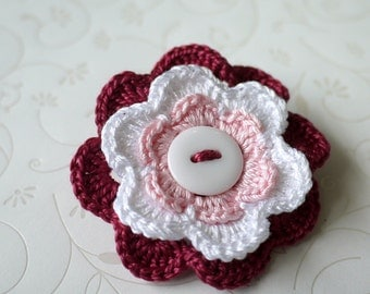 Flower Crochet Brooch - Red