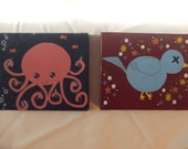Octopus with Knives/Dead Bluebird of Happiness- pair of small paintings