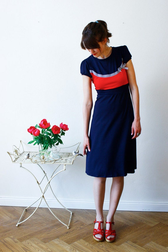 "Dress ""Laura"", red-white-navyblue"