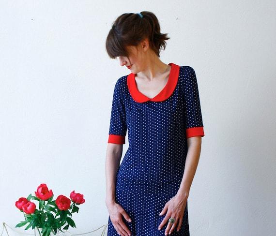 "Dress ""Lulu"", navyblue-white-red"