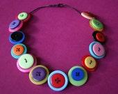Multi Coloured Button Necklace