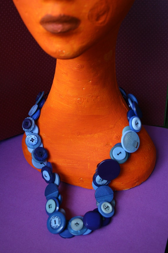 Shades of Blue Button Necklace