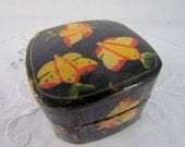 Wooden Box Black with Hand Painted Butterflies Yellow
